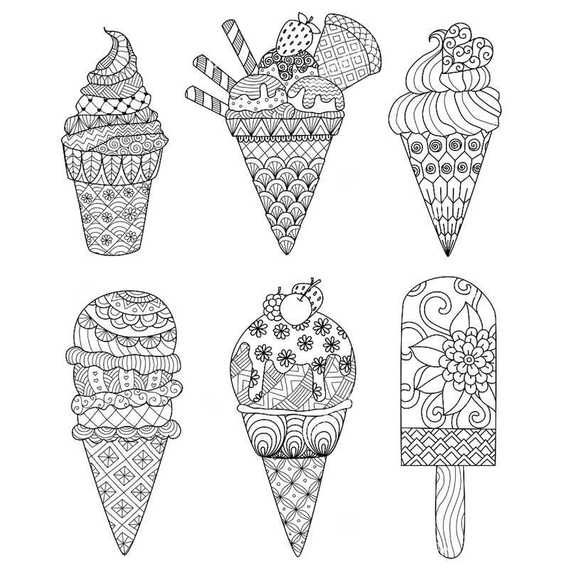 раскраски антистресс мороженое распечатать