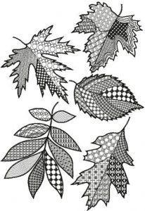 раскраски антистресс осенние листья