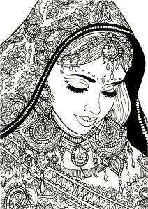 раскраски антистресс распечатать девушка индианка