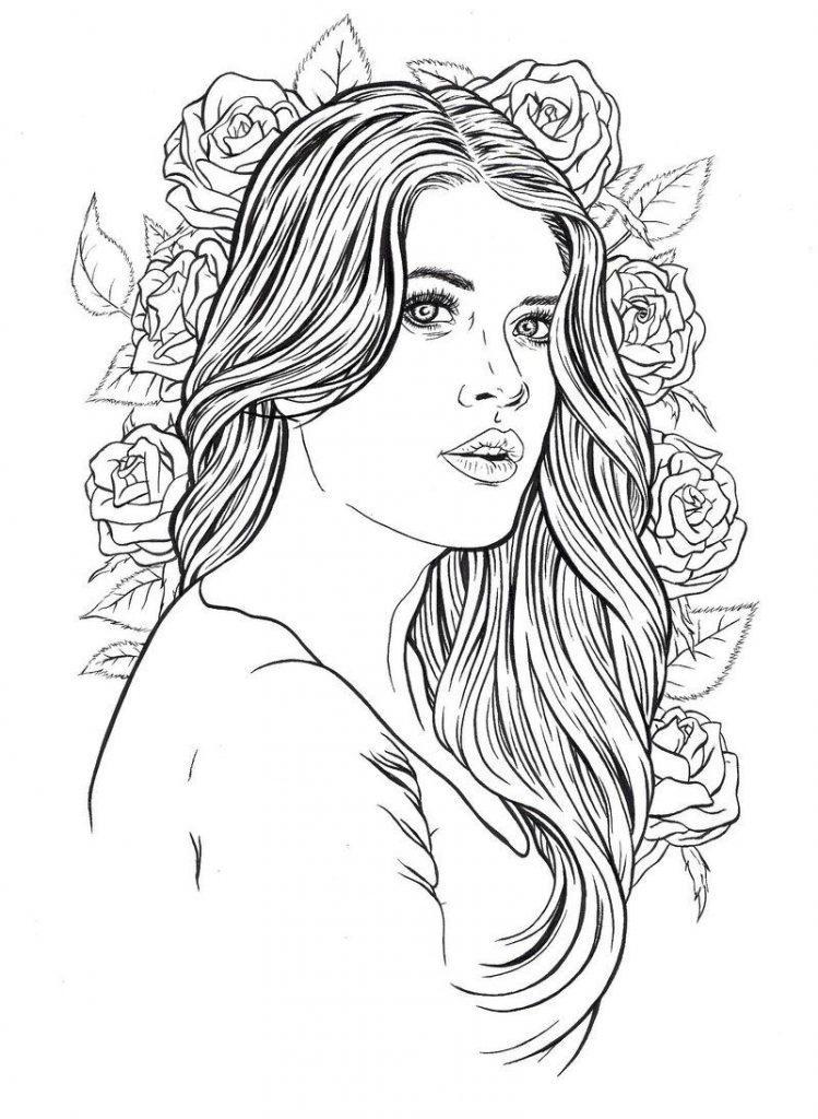 раскраски антистресс распечатать девушка портрет