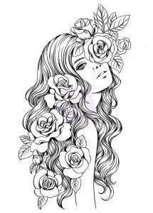 раскраски антистресс распечатать девушка с розами