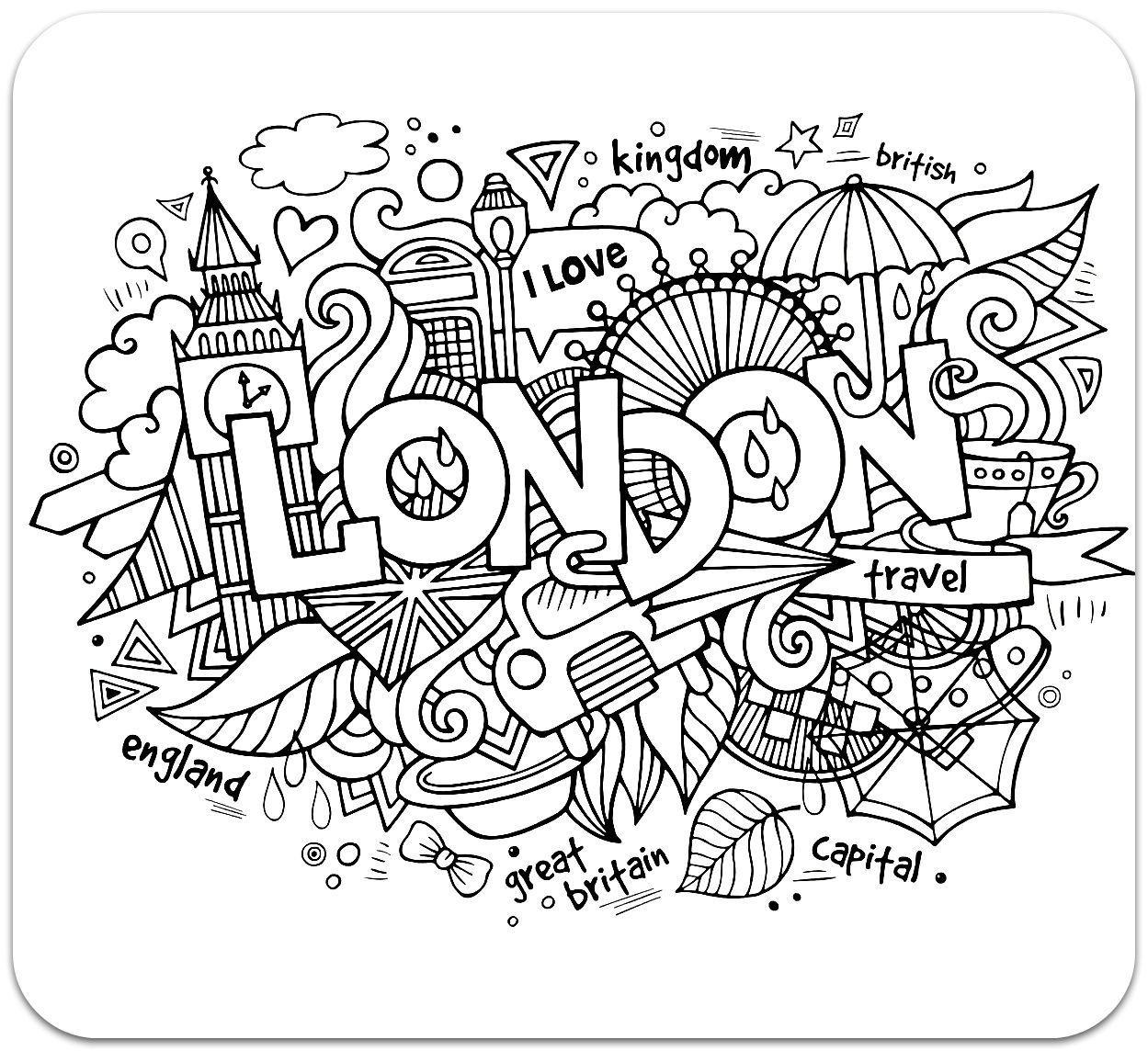 раскраски антистресс с надписями лондон