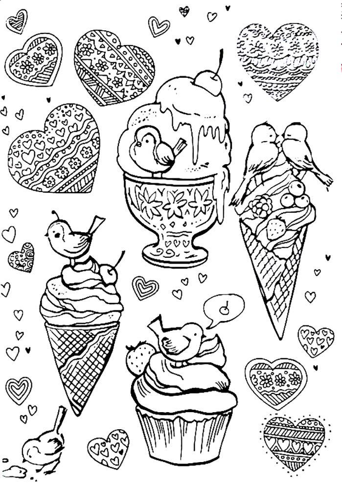 раскраски антистресс сладости распечатать
