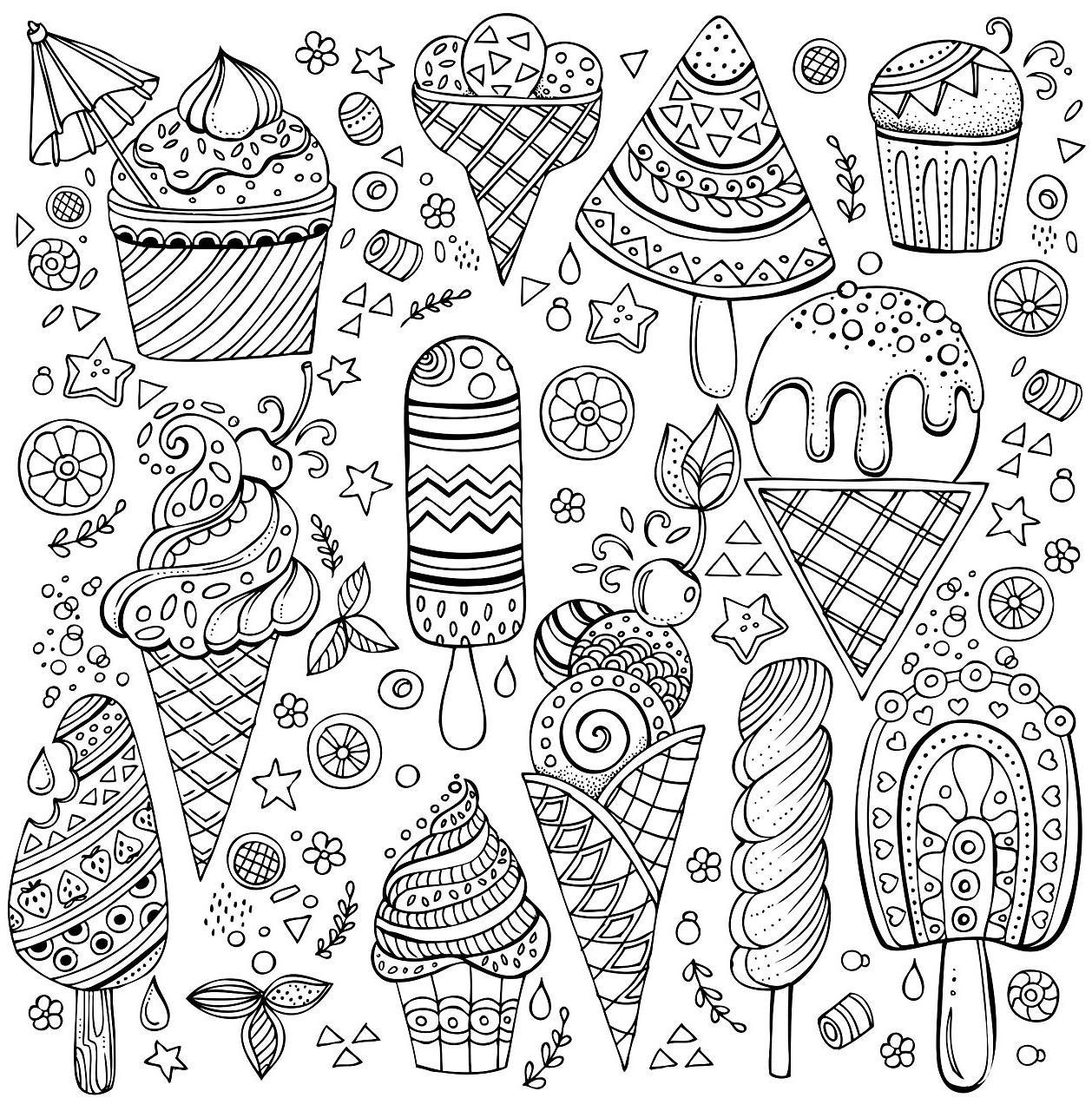 раскраски антистресс сладости