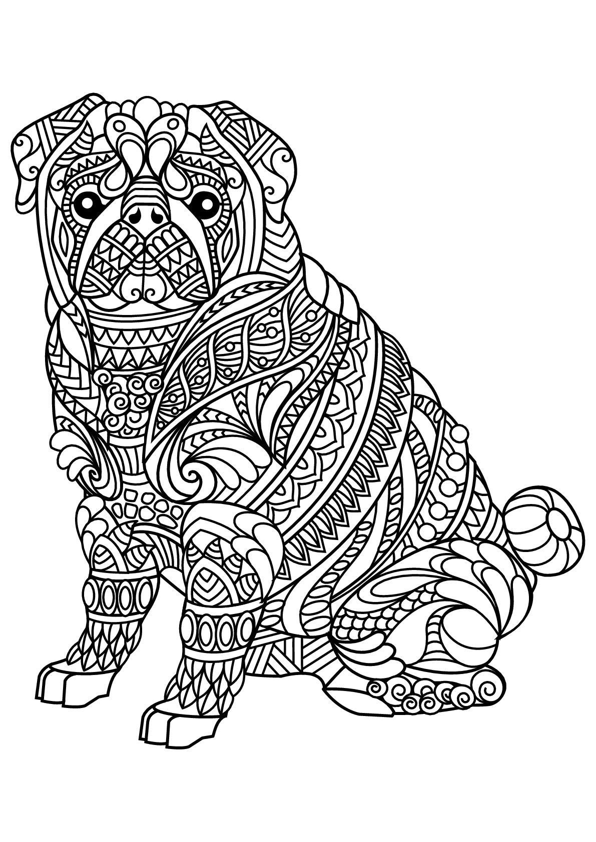 раскраски антистресс собака бульдог