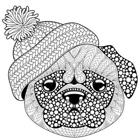 раскраски антистресс собака мопс в шапке