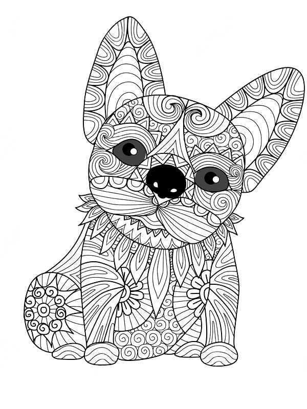 раскраски антистресс собачка веселая