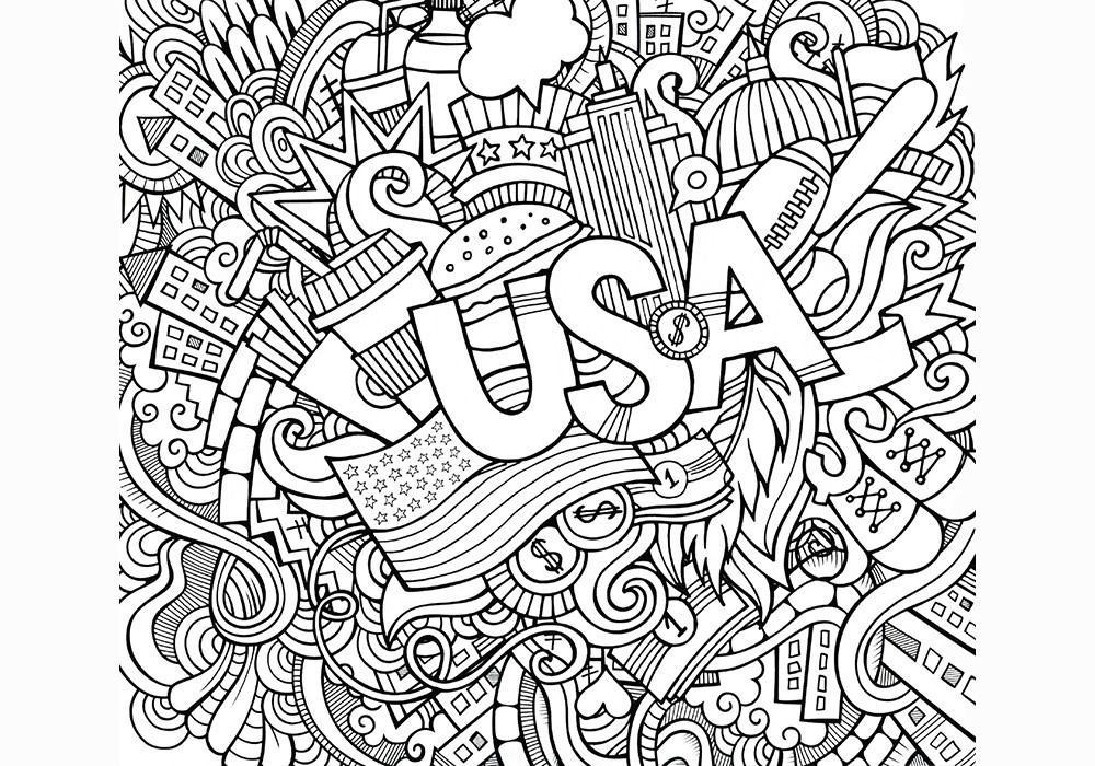 раскраски антистресс страны америка