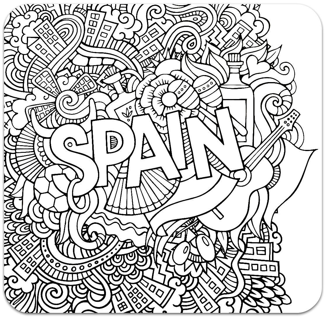 раскраски антистресс страны испания