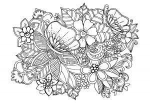 раскраски антистресс цветы