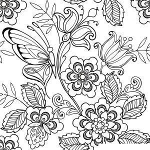 раскраски антистресс цветы и бабочки