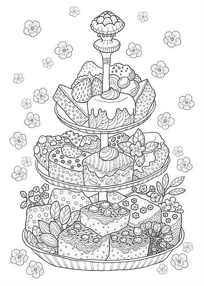 раскраски антистресс еда пирожные