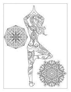 раскраски антистресс йога девушка