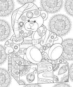 раскраски антистресс зима медведь подарок