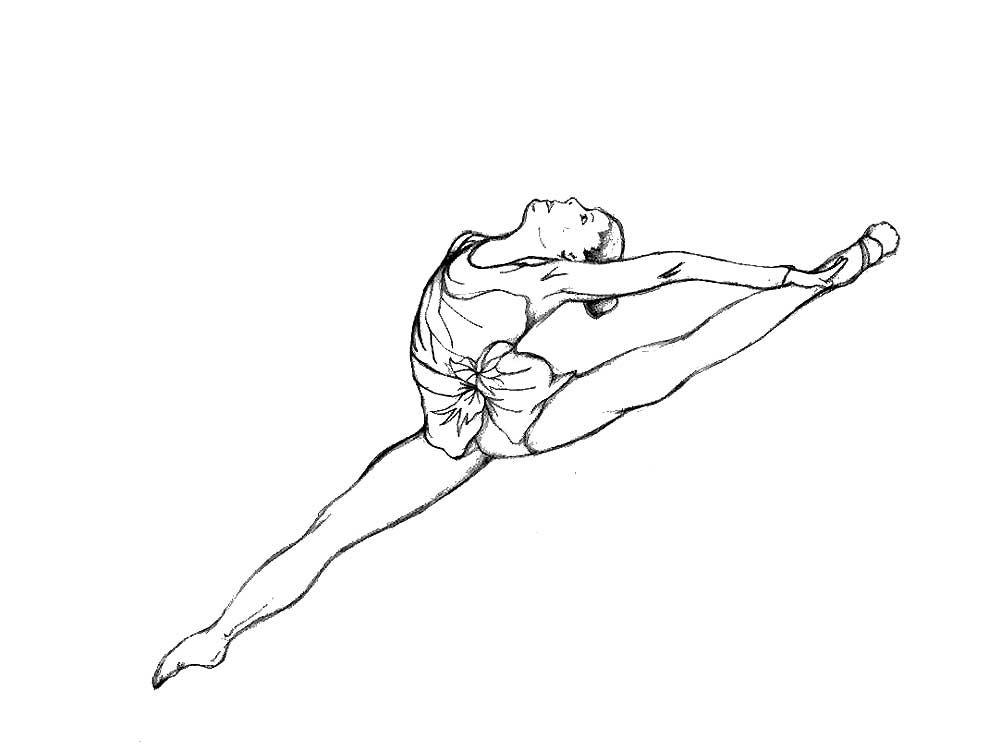 раскраска балерина гимнастка