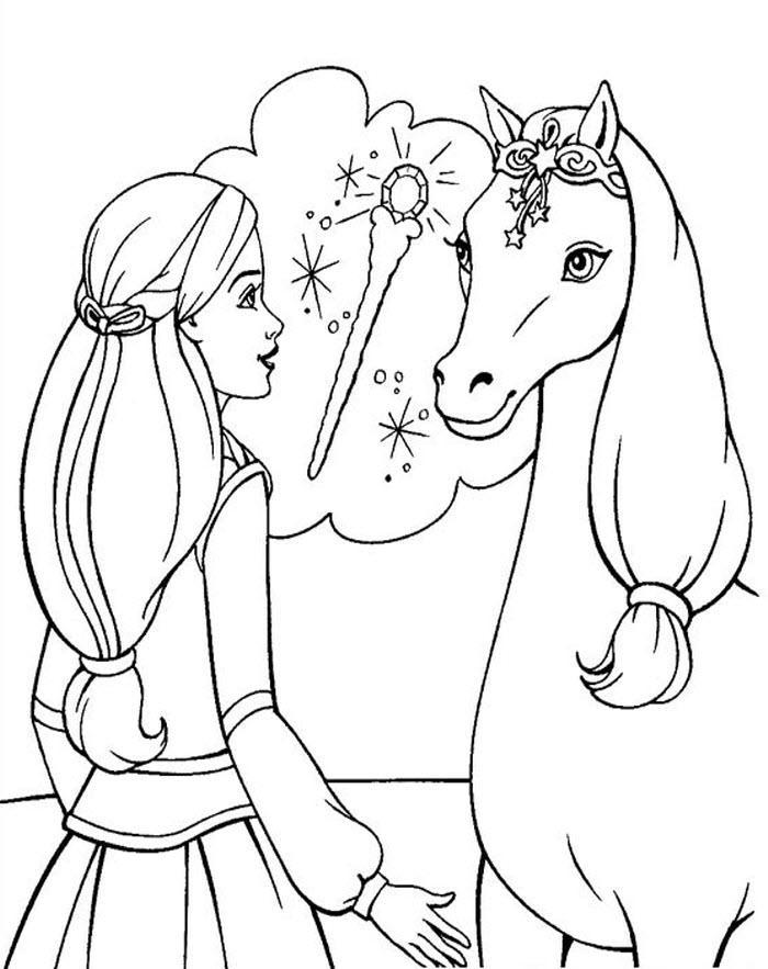 раскраски барби пони
