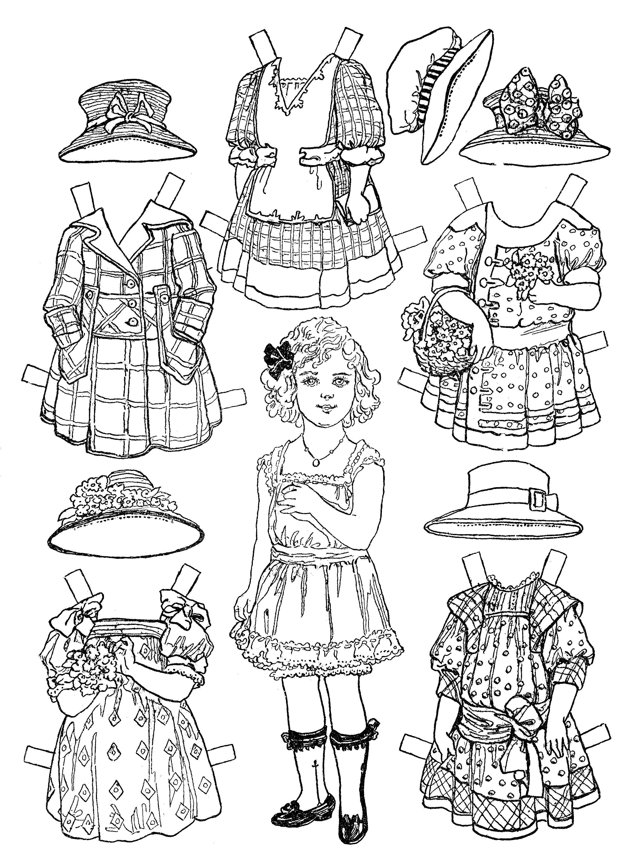 раскраски бумажные куклы с одеждой