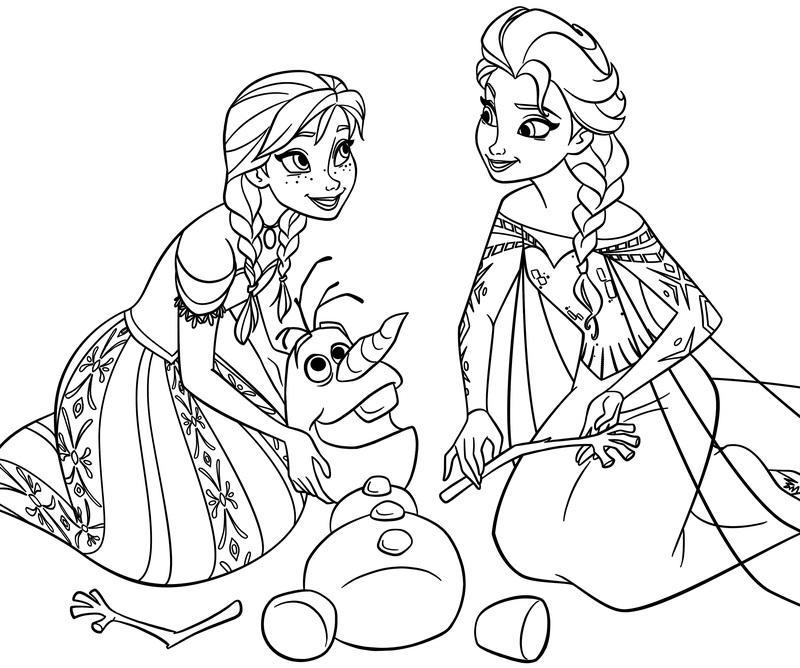 раскраски для девочек анна и эльза распечатать бесплатно