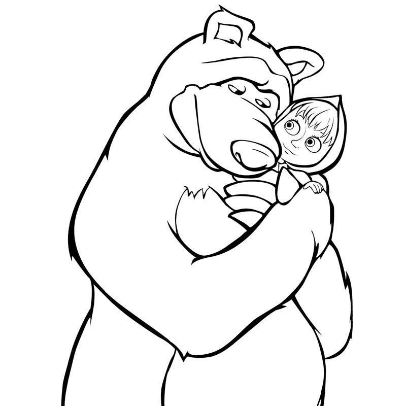 раскраски для девочек для 3 лет маша и медведь