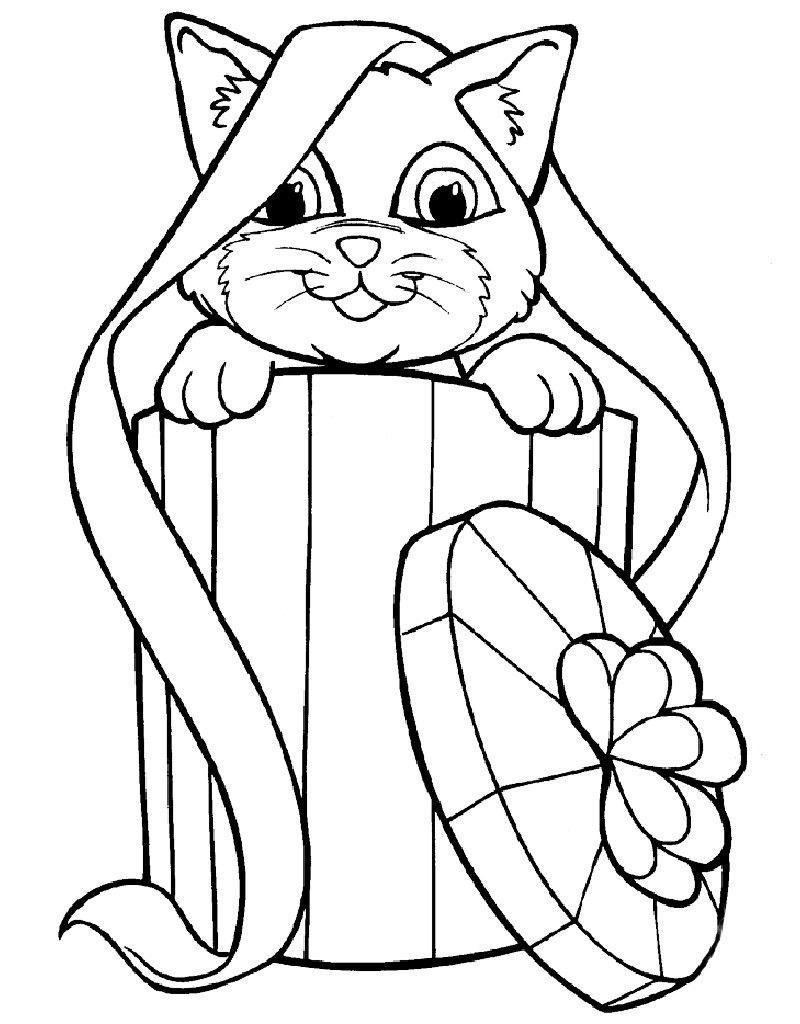 раскраски для девочек котята распечатать бесплатно