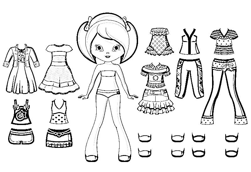 Раскраски для девочек кукла с одеждой