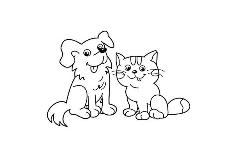 раскраски для девочек очень милые кошечки и собачки распечатать