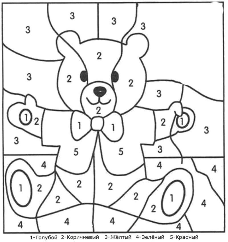 раскраски для девочек по номерам цифрам распечатать