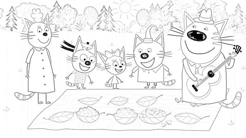 Раскраски для девочек Три кота: распечатать, бесплатно ...