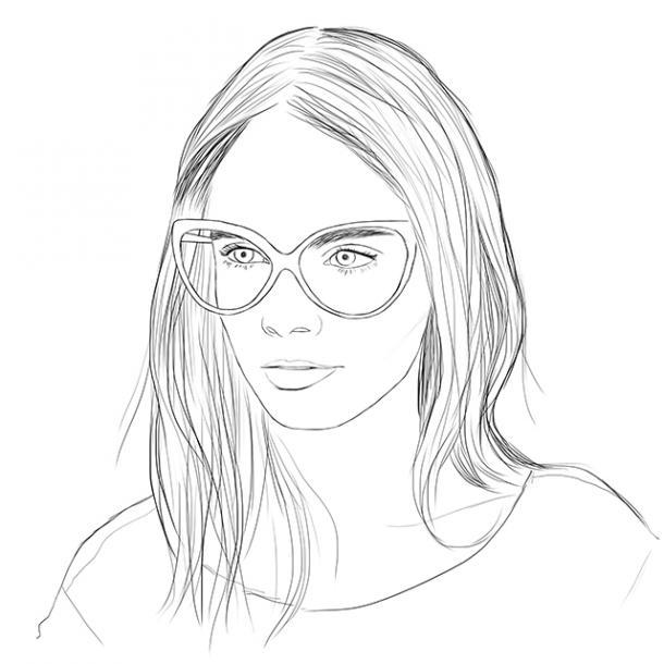 раскраски лицо девушки в очках распечатать