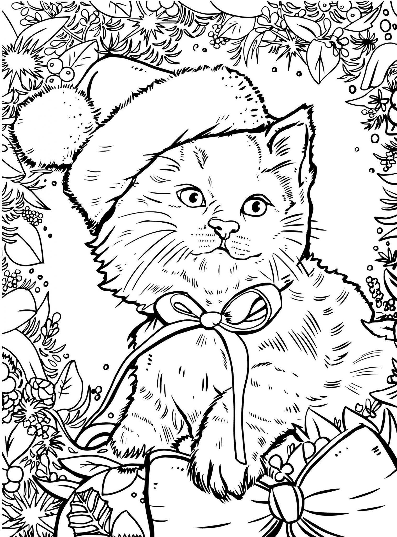 раскраски новогодние котята распечатать
