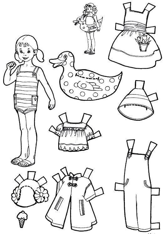 раскраски вырезалки одежда для кукол