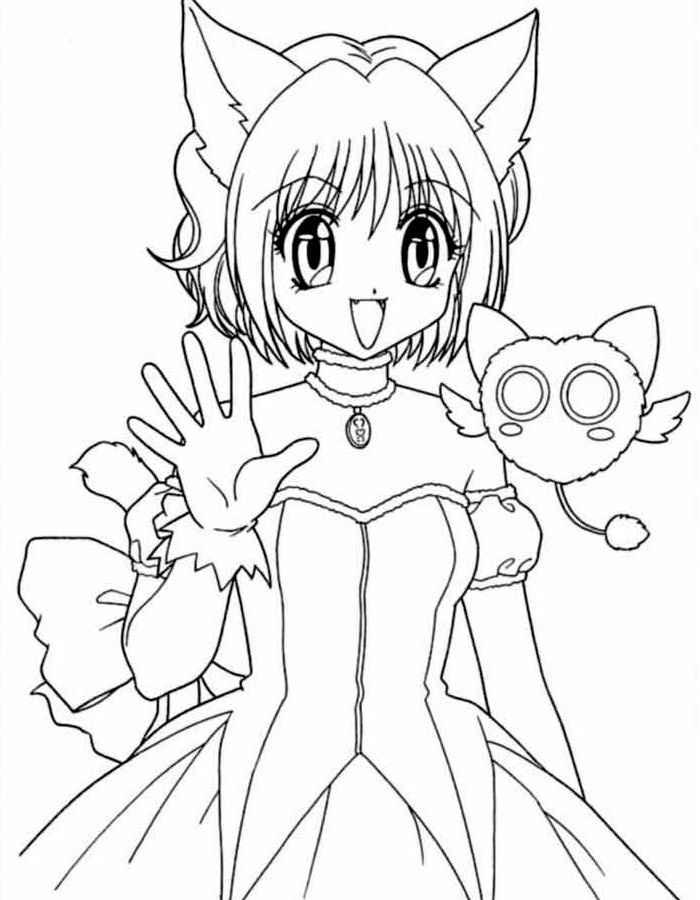 распечатать раскраски аниме для девочек