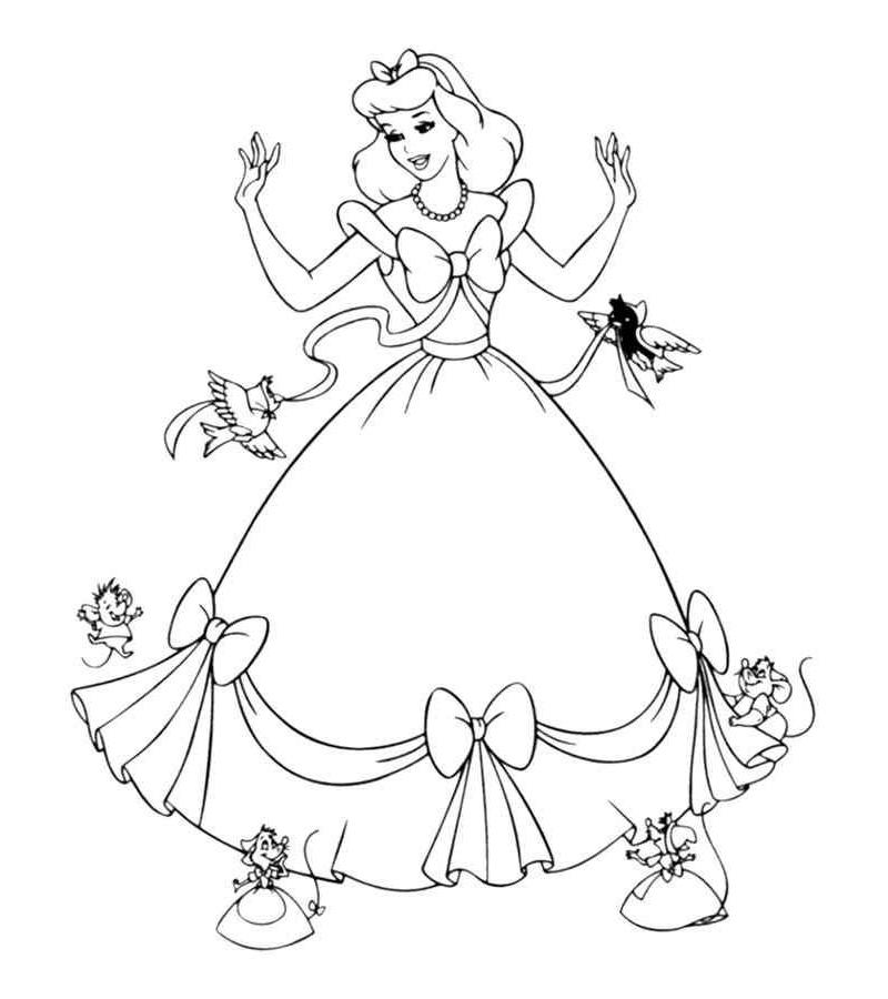 Распечатать раскраски для девочек Золушка формат а4
