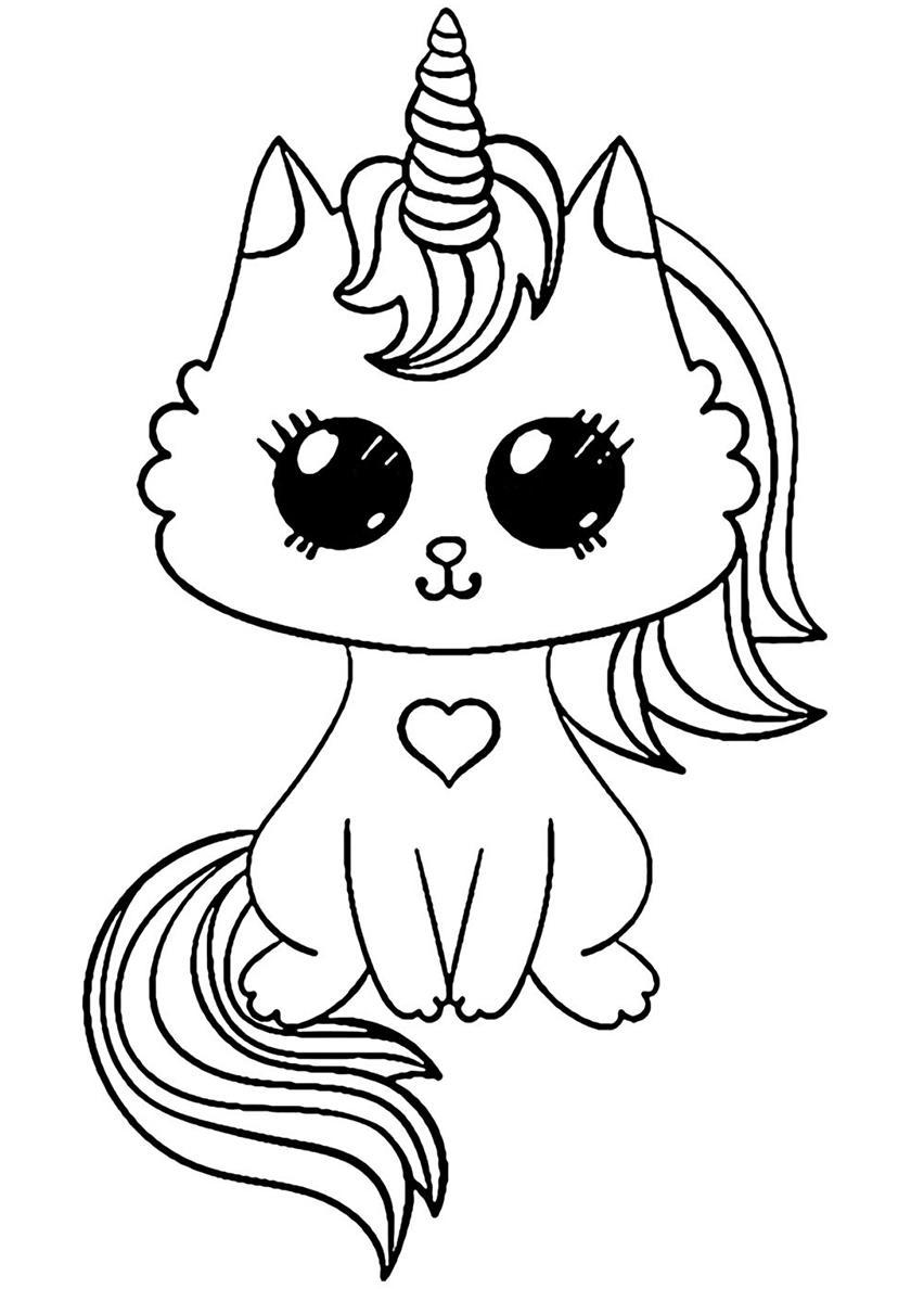 распечатать раскраски милые котята единороги