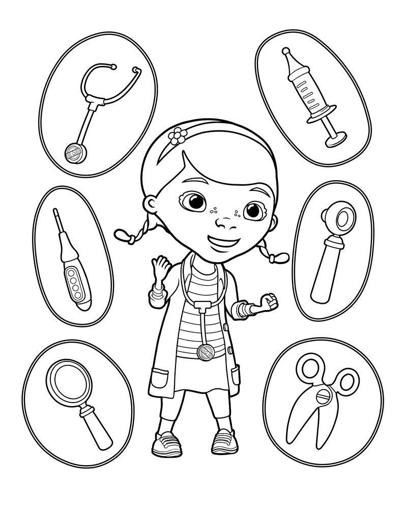 разукрашки для девочек доктор плюшева распечатать