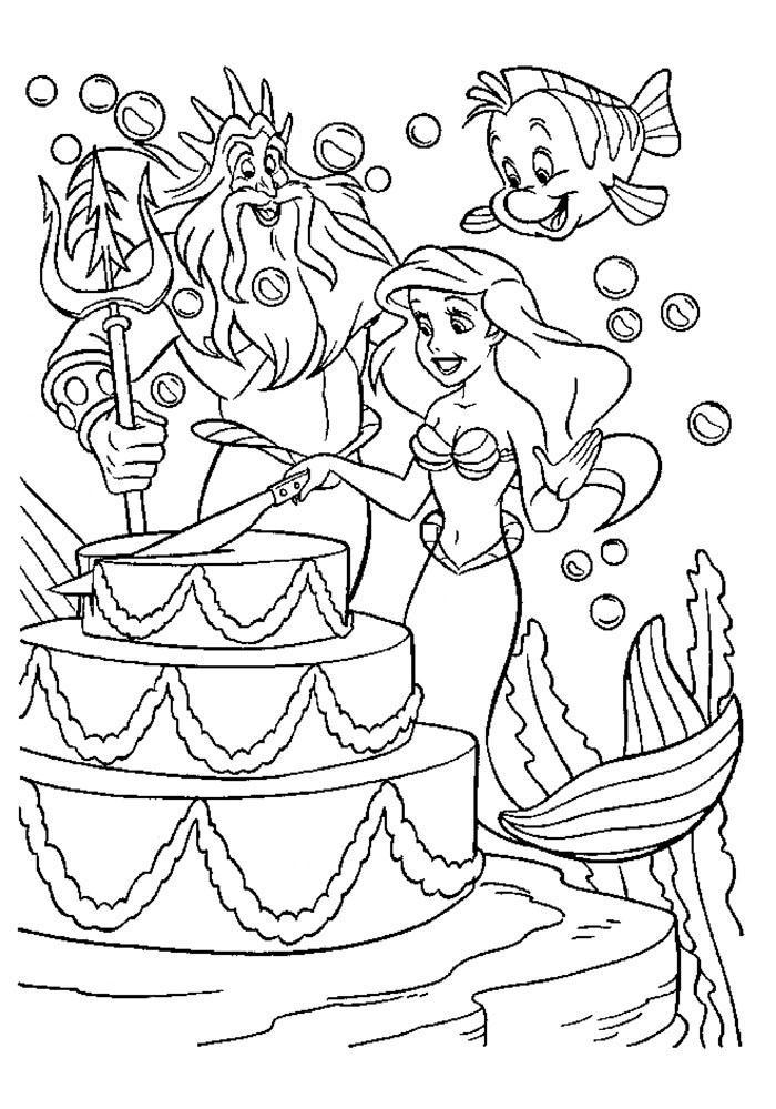 раскраски принцессы диснея распечатать бесплатно формат а4 ариель