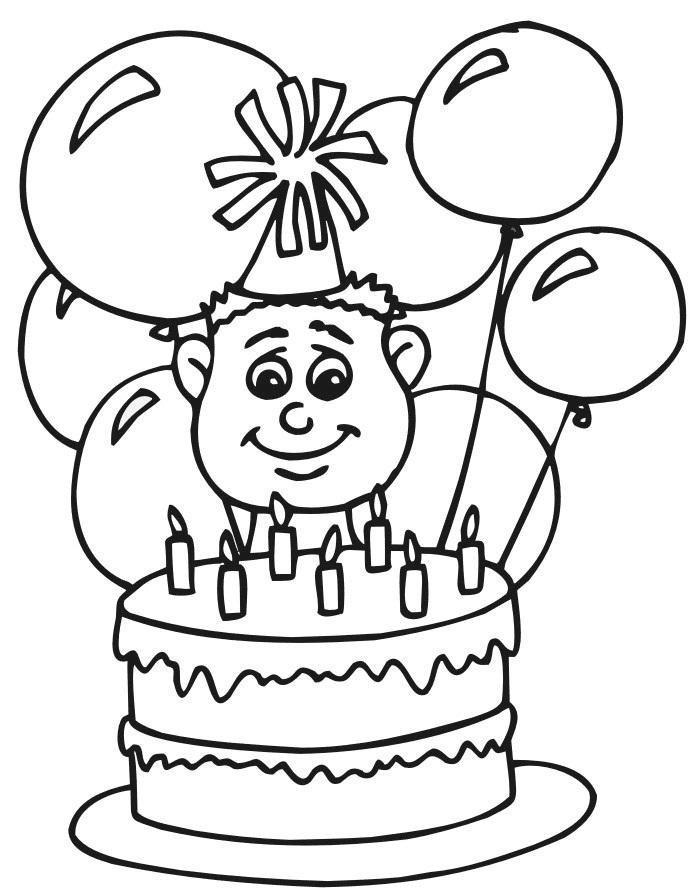 торт раскраска для детей распечатать