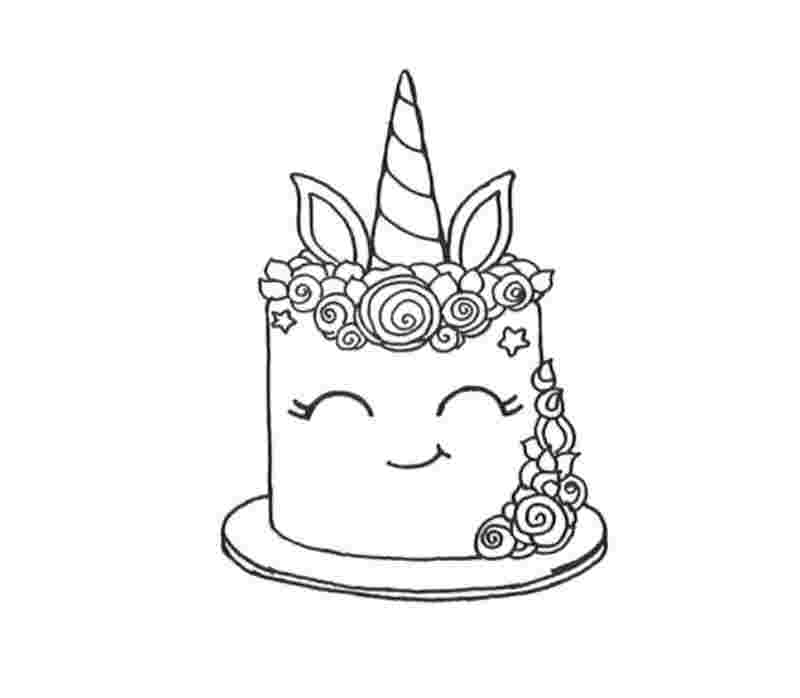 торт единорог раскраска красивая распечатать