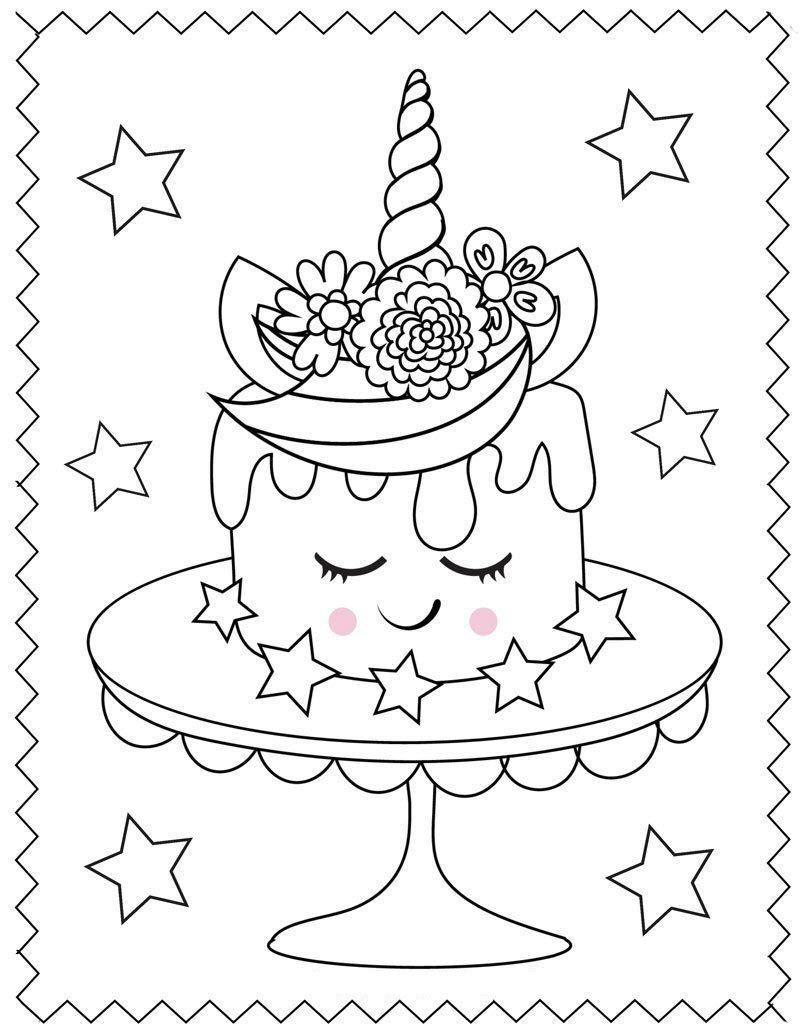 торт единорог раскраска распечатать