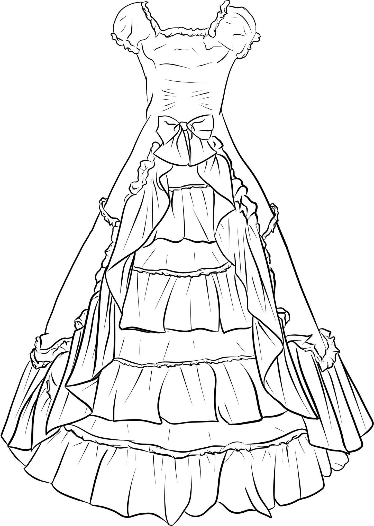 Раскраска платьев для девочек распечатать и скачать
