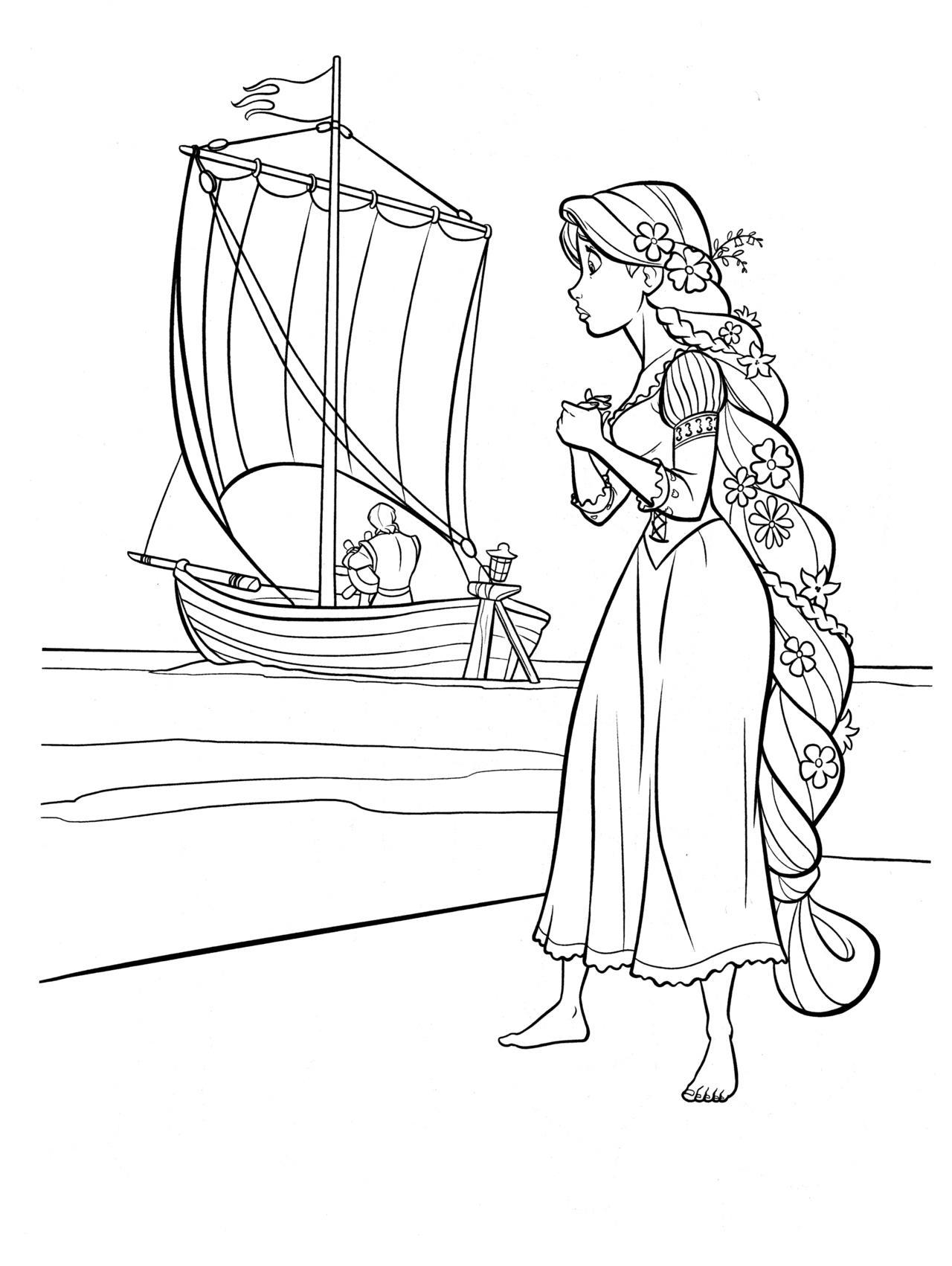 раскраски принцессы диснея распечатать бесплатно формат а4 рапунцель провожает лодку