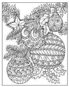 зимние раскраски антистресс шары на елке