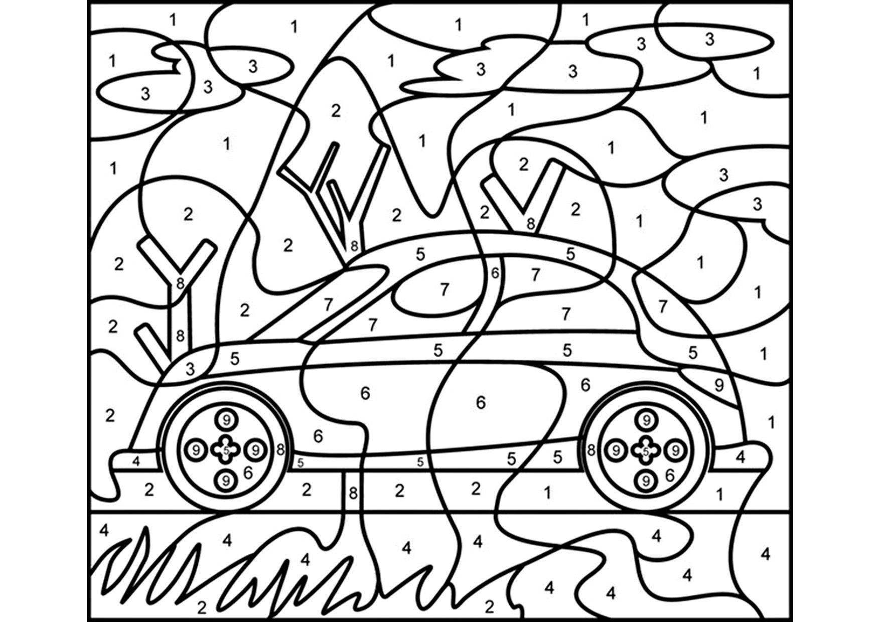 автомобиль раскраска по номерам