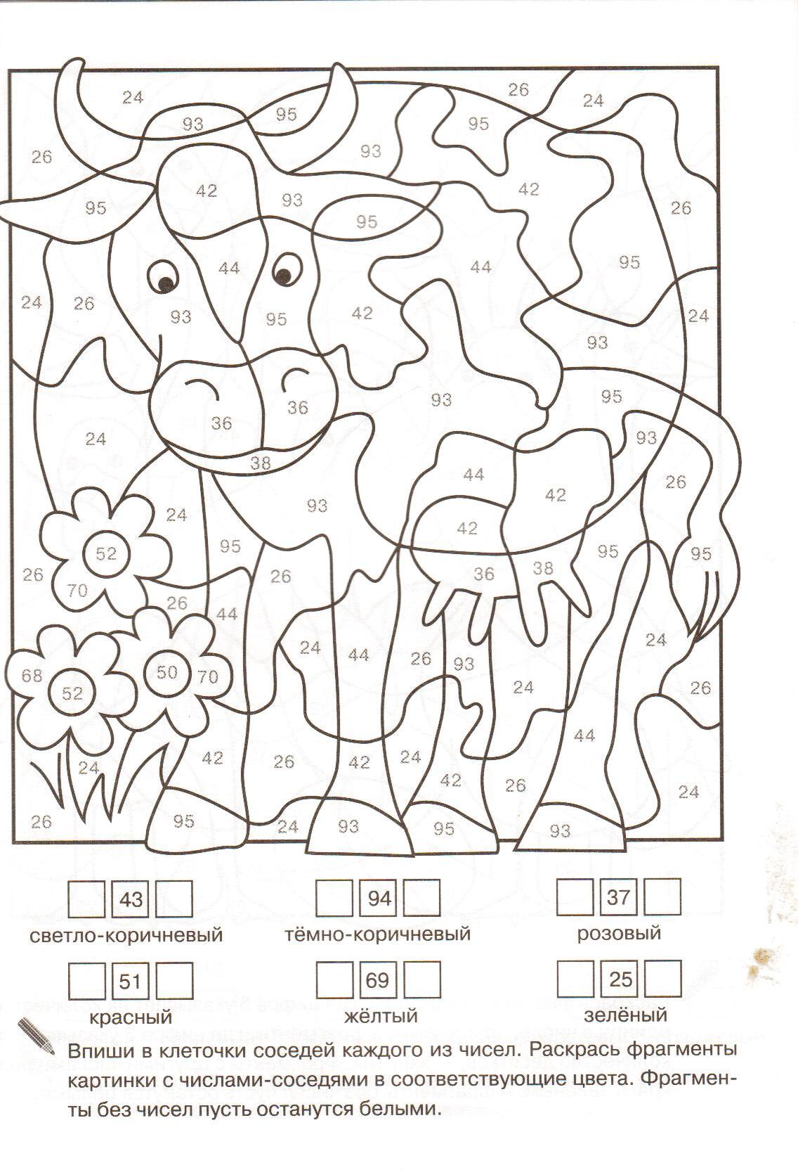 корова раскраска по номерам животные