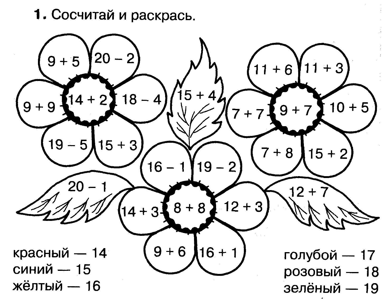 Картинки раскраски математические примеры
