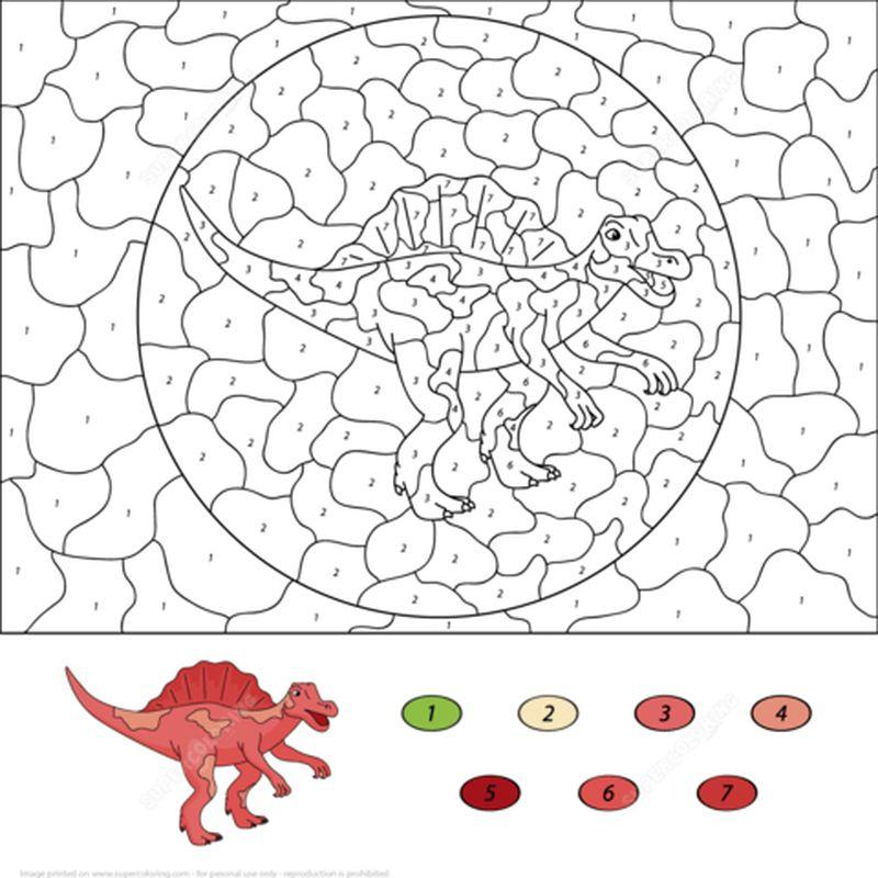 раскраска по номерам динозавры