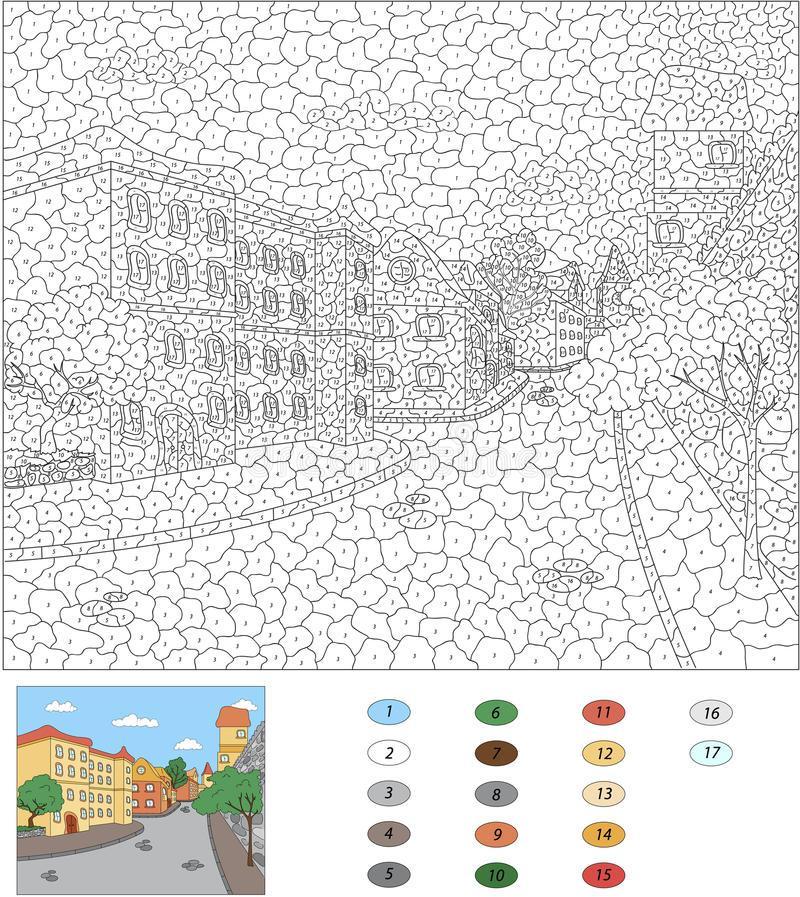 раскраска по номерам город