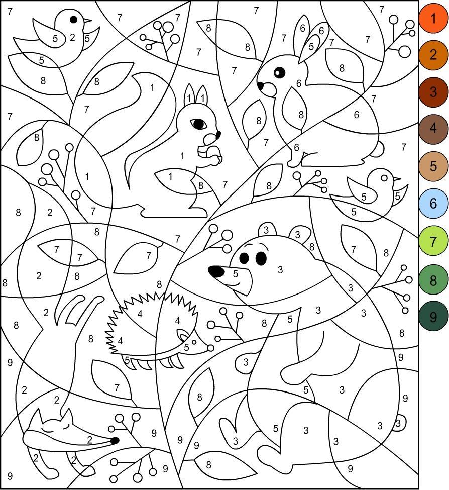 раскраска по номерам лес