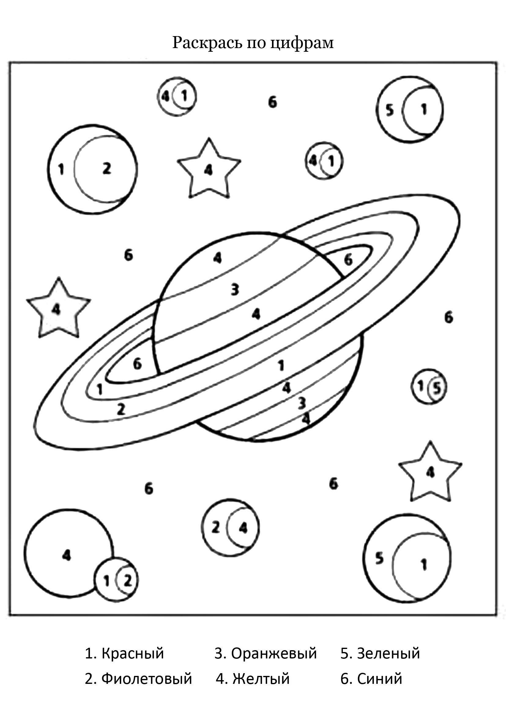 раскраска по номерам планеты