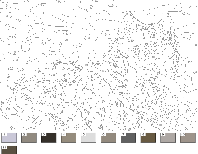 раскраска по номерам волки